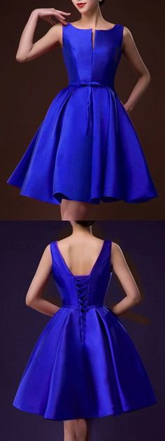 Blue Plunge Neck Bowknot Waist Lacing Back Prom Skater Dress