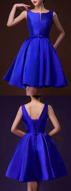 Blue Plunge Neck Bowknot Waist Lacing Back Prom Skater Dress