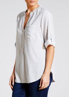 e65fe121399394 Stripe Grandad Collar Shirt – Matalan