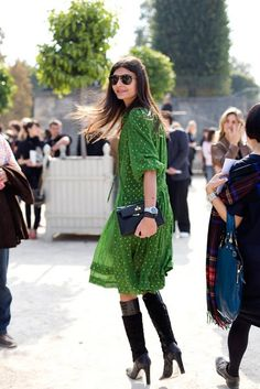 The Dream Of Style: Style icon: Giovanna Battaglia. Love this green chiffon polka dot dress with black boots.