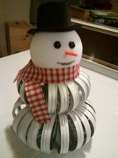Image only...snowman Winter decor made from Mason jar lids and a Styrofoam ball.