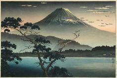 Lot 291 - Tsuchiya Koitsu (1870-1949) a woodblock print of Mount Fuji viewed from a pine tree across Lake Sai,