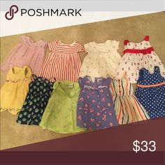 10 baby girl dresses, 12mo and 6-12mo Various brands. Gap, old navy, Gymboree, etc. some are 12 Month. Some are 6-12. Similar fit. No stains. Gymboree Dresses