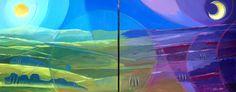 """"""" GIORNO E NOTTE IN VALDICHIANA """" Acrilico e matite acquerellabili con applicazioni di lino su tela 2 pannelli 80x100"""