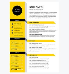Creative CV / Resume template yellow color If you like this design. Check others on my CV template board :) Thanks for sharing! Free Cv Template Word, Resume Design Template, Resume Templates, Graphic Design Cv, Cv Design, Curriculum Vitae Template Free, Conception Cv, Cv Original, It Cv