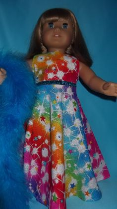 American Girl doll clothes  Rainbow Gown and Boa  by susiestitchit, $16.00