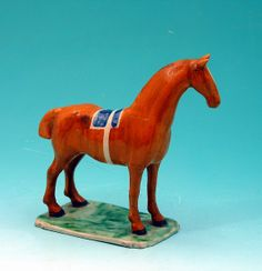 Prattware figure of a standing horse on base c1800
