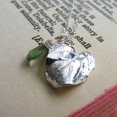 Silver Leaf Pendant August Birthstone Necklace by OneLoomStudio. Green Wedding Garden Wedding