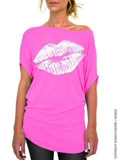 "Use coupon code ""pinterest"" Lips Slouchy Tee - Lipstick Kiss - Valentine's Day - Pink with White Longer Length Slouchy Tee (Small - Plus Sizes) by DentzDenim"