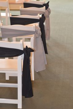 Wedding Chair Covers.  Silver & Black Sashes.   Bellingham WA.