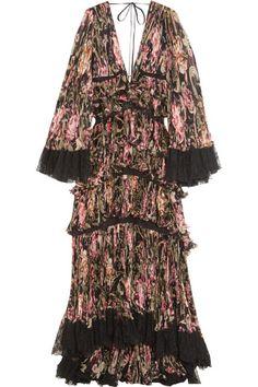 Tiered lace-trimmed plissé-silk gown.