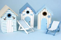 Birdhouse, make one on left w/ aqua blue strip paper, gray paint, themed buttons glued on for deco.  MLK