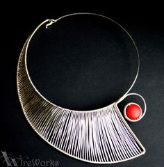 Urban Warrior Necklace. Minimalist, silver plated, wire wrapped, red howlite necklace. €65.00, via Etsy.