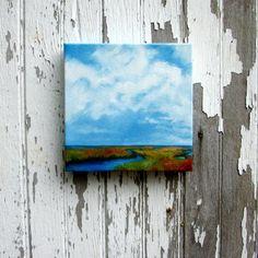 Oil painting original art marshland landscape by Stormscapestudio