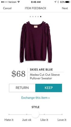 SF Stylist: also good but color not as versatile.Skies are Blue Medea Cut out Sleeve Pullover Sweater Stitch Fix