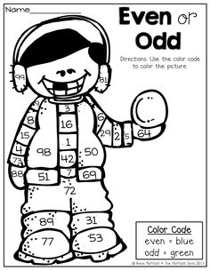 Even or Odd? Color the picture according to the color code (even or ...