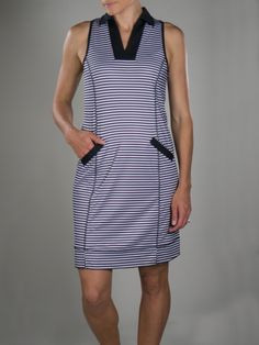 Check out what #lorisgolfshoppe has for your days on and off the golf course! JoFit Ladies & Plus Size Wide Placket Sleeveless Golf Dresses - Cabernet (Cabernet Stripe)