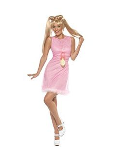 Baby Power kostuum voor dames. Roze jurkje met een grote speen, helemaal in de stijl van Baby Spice uit de Spice Girls. Baby Power kostuum met onderrokje en aan de voorkant bontrandje. Carnavalskleding 2015 #carnaval
