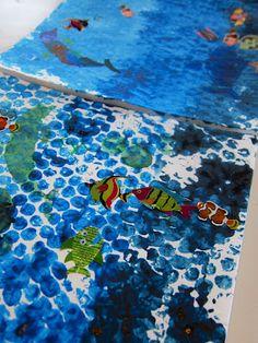 Joyfully Weary: Bubble Print Ocean Layers