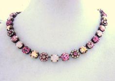 swarovski crystal choker-better than sabika-floral-opals-pink-bridesmaid-GREAT PRICE-romantic on Etsy, $75.00