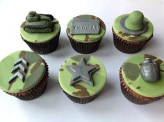 Army Themed Cupcakes by Fancy Fondant Military Cupcakes, Army Cupcakes, Fire Cupcakes, Army Cake, Military Cake, Fondant Cupcakes, Themed Cupcakes, Birthday Cupcakes, Army Birthday Parties