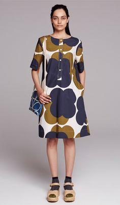 Orla Kiely Cotton Poplin Woven A-Line Dress shown with Orla Kiely Giant Linear Stem Travel Pouch