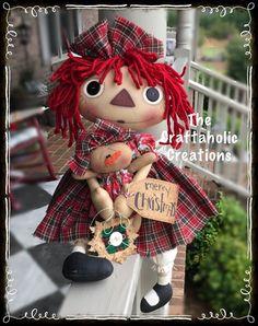 "* Primtive RAGGEDY ANN doll Annie  merry CHRISTMAS with SNOWMAN - 21"" BIG set  #NaivePrimitive"
