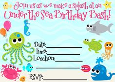 FREE Under The Sea Birthday Party Printables Change Wording Though For A Baby Shower