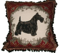 Scottie with Decorative Border Needlepoint Pillow