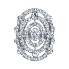 "Gumuchian 18k White Gold & Pavé Diamond ""Carousel"" Ring."