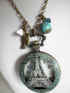 Eiffel Tower Watch Pendant Patina Necklace | jnldesigns - Jewelry on ArtFire