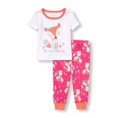 Baby And Toddler Girls Short Sleeve 'My Aunt Loves Me' Fox Top And Fox