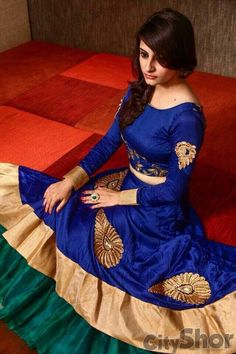 Bhagalpuri+Khadi+Zari+Work+Royal+Blue+Unstitched+Lehenga+-+R4 at Rs 1180
