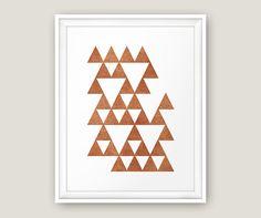 Geometric Triangle Print, Copper Printable, Geometric Mountain Printable…