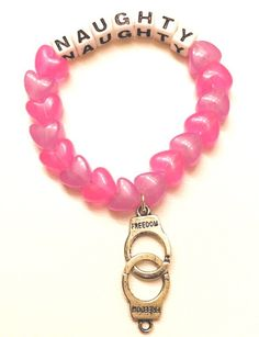 A personal favorite from my Etsy shop https://www.etsy.com/listing/479890979/rave-kandi-bracelet-handcuffs-naughty