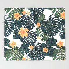 Tropical retro Throw Blanket