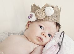 2 month old baby girl  burlap crown