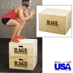 "Rage Wood Cube Plyo Box - RCF-PB030C  Get the advantage of 3 plyo boxes in one! The 20"" x 24"" x 30"" cube is made with our signature puzzle design for easy assembly. No glue necessary. The ship flat design saves time and money. Made in the USA. Ships unassembled. Holes are pre-drilled and all hardware is provided for easy assembly."