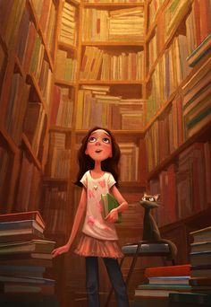 Erwin Madrid. This is totally what I feel like....sooo many books to read and so little time. And I got a book list in my head I still need to finish before I can even buy a book in a book store. Love this illustration=) Especially with the cat lollll' love my cat and my dog<3