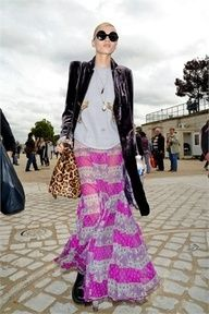 maxi skirt + leather blazer + some leopard and bright stripes