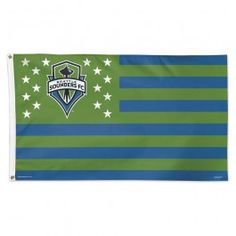 3x5 Seattle Sounders Stars & Stripes Deluxe Team Flag; Polyester H&G - Officially Licensed - Seattle Sounders - MLS - Sports Flags - Product Type Flags A' Flying