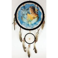 "13"" Indian maiden and two owls across a clouded sky Dream Catcher"