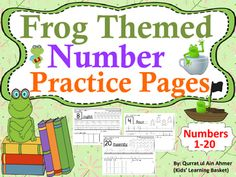 Frog Themed Number Practice Pages (1- 20):This is a set of practice pages in which numbers are reviewed from 1-20.In this pack student will:-----Recognize and read the number in the box-----Trace the number -----Trace the number word-----Count and color the Winter images-----Coloring Ten frames according to the Number worksheet-----Drawing objects in the blank box to correspond with the number If you want any change kindly let me know.Write in Ask question tab.