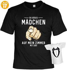 Lustige Sprüche Fun Tshirts - Du böses Mädchen auf mein Zimmer - incl. Mini-Shirt ohne Flasche (*Partner-Link)