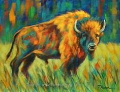 Colorful Buffalo Painting, Contemporary Wildlife Art by Theresa Paden, painting by artist Theresa Paden Acrylic Art, Acrylic Painting Canvas, Canvas Art, Canvas Ideas, Canvas Paintings, Wildlife Paintings, Wildlife Art, Animal Paintings, Buffalo Painting