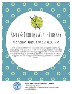 Knit & Crochet at the Library Learning Resources, Knit Crochet, Bring It On, Knitting, Projects, Log Projects, Tricot, Breien, Crochet