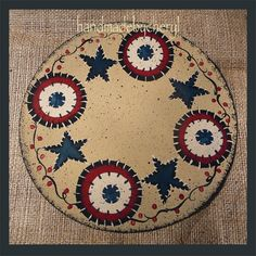 Candle Mat Handpainted Americana Penny Rug Style by cherylweaver, $9.00