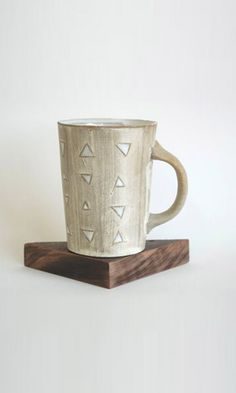 Joe Kraft tall triangle mug Coffee Shop, Coffee Mugs, Cream Tea, Wooden Coasters, Cool Mugs, My Cup Of Tea, Tea Pots, At Least, Objects