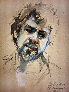Diann Haistart ~ He Liked to Play the Blues 11.05.28, 2011 (pen and ink, watercolour wash on recycled paper)