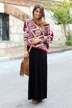 Ethnic sweater (Perú) + Long black skirt + Brown accesories.